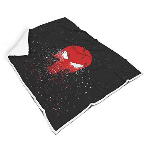 O5KFD & 8 vleermuisdeken White Eye Red Skull Head patroon gedrukte microvezel universele deken - Bling Super Comfort voor slaapbank te gebruiken