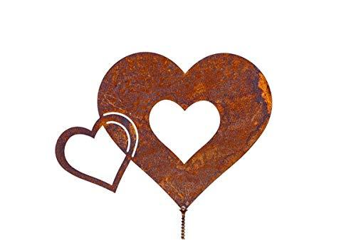 Rostalgie Edelrost Herz doppelt mit Schraube 19x14cm, inkl. Herz 8x6cm für Holz Gartendeko Geschenk