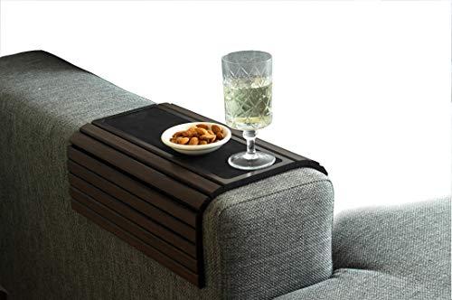 Kos Design - Vassoio per divano in bambù, antiscivolo, per tutti i braccioli, colore naturale scuro si adatta a qualsiasi interno.
