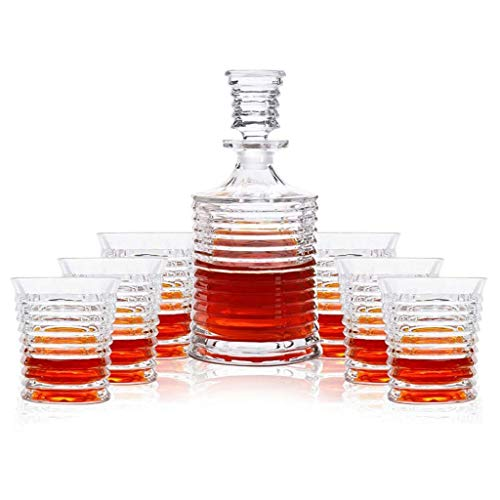 JNMDLAKO Decantador de Whisky de Cristal (900 ml) y Juego de 6 Vasos (260 ml), Cristal sin Plomo 'Hobart para licores, Bourbon o escocés, en Caja de Regalo