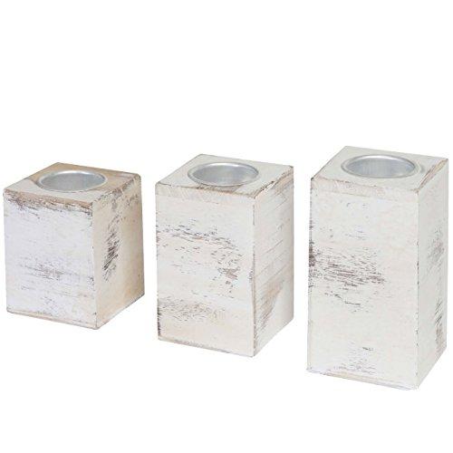 Mendler 3er Set S+M+L Teelichthalter HWC-C58, Teelichtständer, Shabby-Look Vintage ~ weiß