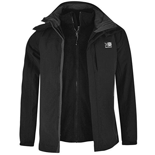 Chaqueta 3 en 1 para hombre. con capucha oculta, forro de malla, impermeable, de marca Karrimor, negro, small