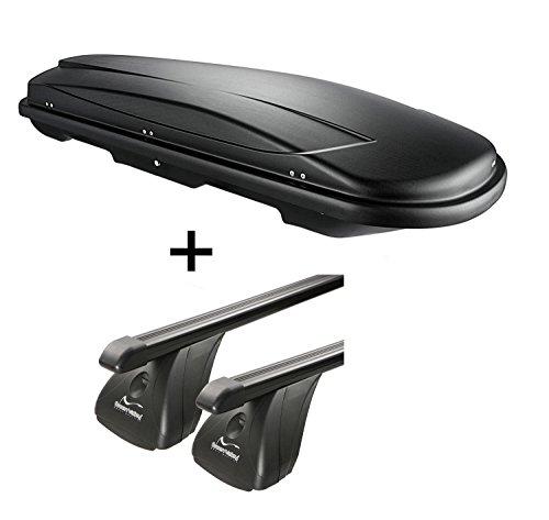 Coffre de toit vdpjuxt400 400Ltr Noir verrouillable acier + barres de toit Aurilis pour Toyota Prius + (5türer) à partir de 2012
