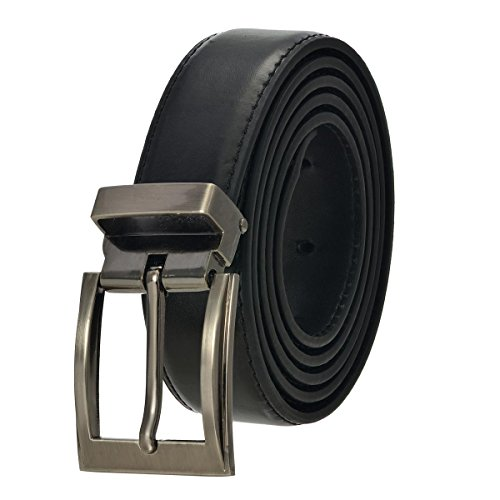 Faux Leather Belt with Nickel Buckle - Black 44'