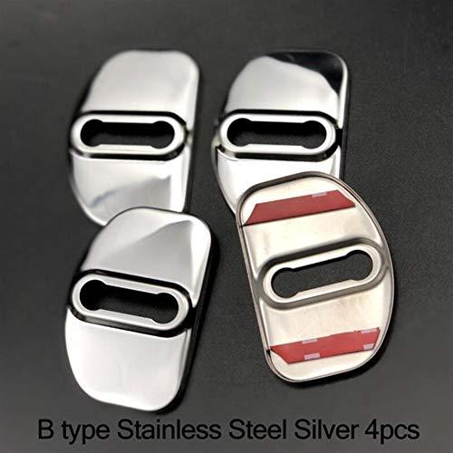 IOUVS 4pcs Puerta de Coche Bloqueo de la Cubierta Protectora for la Caja for Audi A6 C5 a4 a4 b6 b7 b8 a4 a4 b5 a6 c6 a3 a5 Q5 2001-2009 Accesorios for automóviles (Color : B Type Steel Silver)