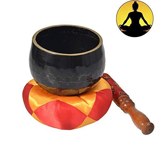 WangXIAO klankschaal 9 cm, antieke Tibetaanse klankschaal met koffer en kussen van zijde voor meditatie, yoga, genezing van de chakra's
