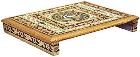 JaipurCrafts Wood Pooja Chowki (Multicolour, 30 X 22 X 6 Cm)