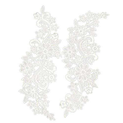 ruiting Apliques de Encaje Bordado Floral Venise guipur Boda del Adorno del Ajuste 1 par Blanca 30x10cm Decoración