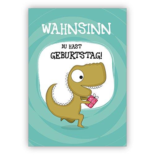Set 4x Lustige Geburtstags Glückwunschkarte mit Dinosaurier: Wahnsinn Du hast Geburtstag! • hübsche Grusskarten zum Geburtstag mit Umschlägen geschäftlich & privat