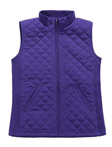 Bienzoe Women Casual Quilted Sleeveless Light Weight Vest Stretch Rib Purple L