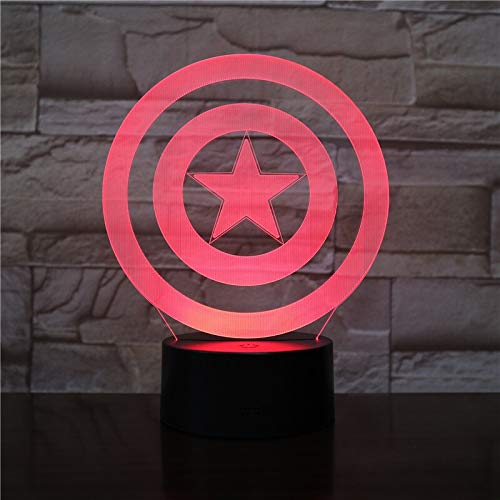 3D Captain America Shield Figure 3D 7/16 Ändern Acryl Tisch Nachtlicht LED Illusion Touch USB Lampe Junge Kinder Spielzeug Geschenk (Emitting Color : 7 colors touch mode)