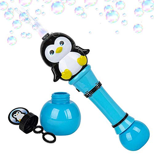 ArtCreativity Light Up Penguin Bubble Blower Wand - 12 Inch Illuminating Bubble Blower with Thrilling LED Effects, Batteries and Bubble Fluid Included, Great Gift Idea, Party Favors - Assorted Colors