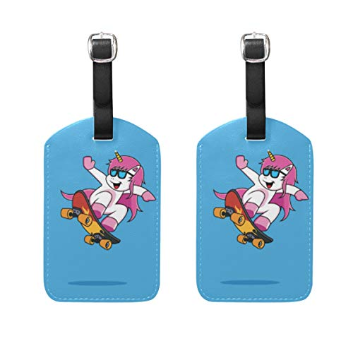 Gepäckanhänger, Cartoon-Einhörner, Skateboard, PU-Leder, mit Sichtschutz auf der Rückseite, für Reisetasche, Koffer, 2 Stück