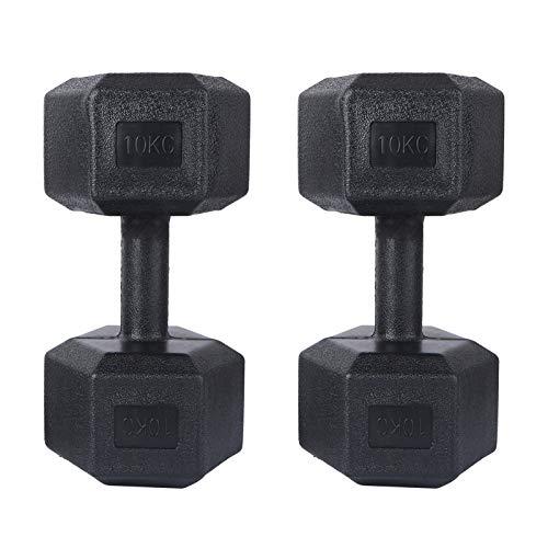 ABOOFAN 1 juego de mancuernas hexagonales de goma para hombre, 10 kg,...