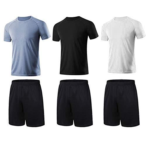 BUYJYA Juego de 3 pantalones cortos deportivos para hombre, para entrenamiento, baloncesto, fútbol, ejercicio, correr, etc, Negro- blanco- gris, Large