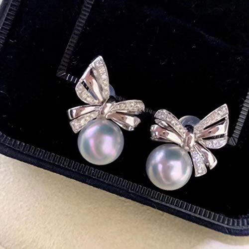 SCRT Pendientes del perno prisionero, pendientes del estilo de la mujer exquisita poco de estilo japonés, de agua dulce perlas de Akoya gris perla 8-8.5mm delicada, elegante arco, bonito regalo for la