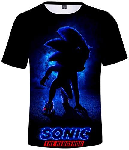 Silver Basic Camiseta Deportiva para Niños 3D Inspirada en la Popular Película y Videojuego Sonic The Hedgehog Summer T-Shirt Sonic Cosplay tee Top M, 751Sonic The Hedgehog Azul-3