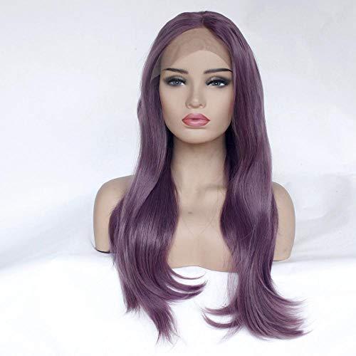 Langes lila Haar, 20 Zoll, halbhandgewebte Kopfbedeckung aus Spitze, synthetische Hochtemperaturseide, wunderschöne Damenperücken für Partys und Partys