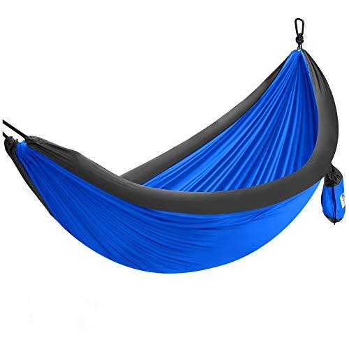 Forceatt 1-2 Personen Camping Hängematte im Freien, 210T hochfaseriges Nylon-Fallschirmgewebe, maximale Belastung von 200KG, geeignet für Camping, Wandern, Reisen, Strand,Mittagspausen