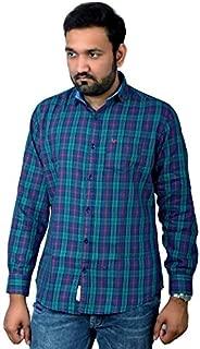 Darien Range Green Blue Checked 100% Cotton Slim Fit Casual Shirt