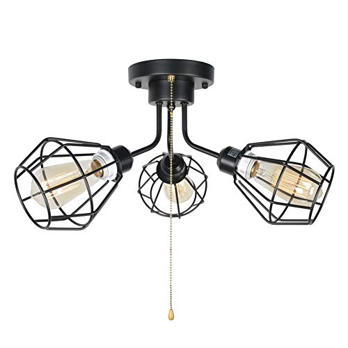 Baiwaiz Black Industrial Pull Chain Ceiling Light Fixture, Metal Wire Cage Semi Flush Mount Light with Pull String Steampunk Modern Entry Kitchen Bedroom Ceiling Light 3 Lights Edison E26 135