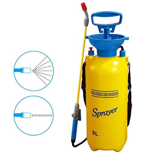 Pump Action-drukspuit, Drukspuit met één hand met overdrukventiel, Schouderriem, Waterpomp-spuit voor kunstmest, Bewateringsinstallaties, Reiniging (8L)