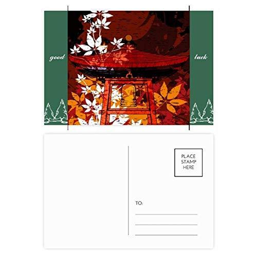 Japan Japan Stil Blätter Pavillon Glücksbringer Postkartenset, Karten, Versandseite 20 Stück