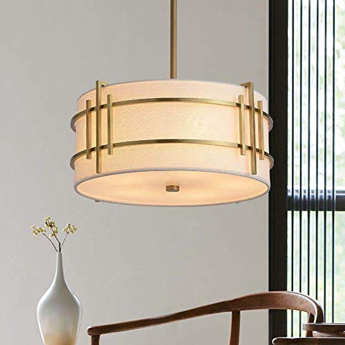 CHUNSHENN Art Fan Light Luxury New Chinese Style All Copper Ceiling Lamp Classic Dining Room Simple Tea Room Hallway Night Stand Light Energy Saving Lamp (Body Color : L D44H19)