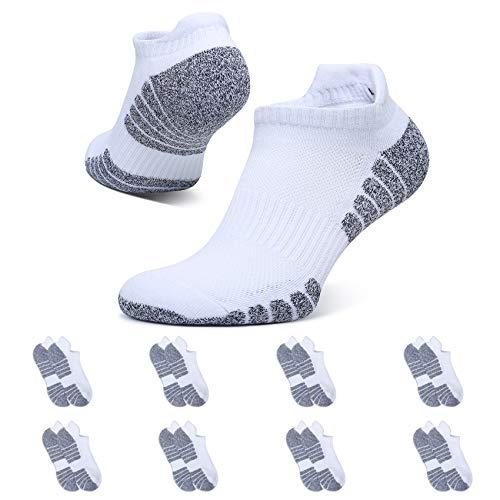 YouShow 8 Paar Sneaker Socken Damen Herren Gepolsterte Sportsocken 39-42 Atmungsaktiv Weiß Baumwolle Laufsocken