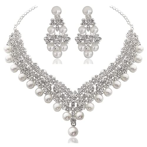 XIGAWAY Perla diamante novia corona pelo triple boda ropa joyería para las mujeres