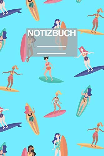 Notizbuch A5 Muster Sommer Surfer Surf Aloha Girl Frauen Mädchen: • 111 Seiten • EXTRA Kalender 2020 • Einzigartig • Liniert • Linie • Linien • Geschenk • Geschenkidee