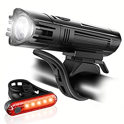 Ascher Ultra Bright USB Rechargeable Bike Light Set, Powerful Bicycle Front Headlight and Back Taillight, 4 Light Modes, Easy to Install for Men Women Kids Road Mountain Cycling