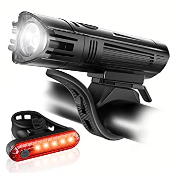 Ascher Ultra Bright USB Rechargeable Bike Light Set Powerful Bicycle Front Headlight and Back Taillight 4 Light Modes Easy to Install for Men Women Kids Road Mountain Cycling