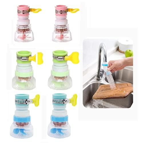 EXQULEG Juego de 6 filtros de agua para grifo, 360°, giratorios, para cocina o baño
