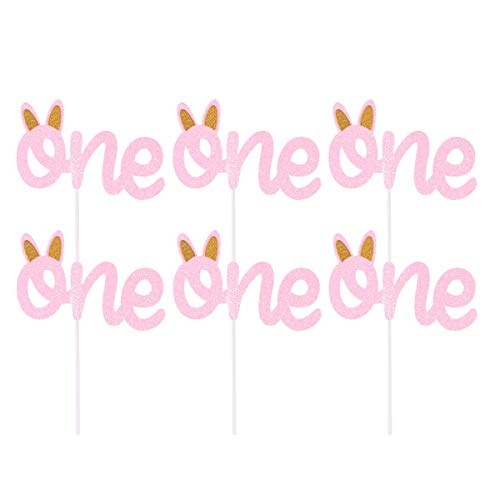 Amosfun Pink One with Rabbit Ear Cake Cake Toppers Tarjeta de inserción para Baby Shower Birthday Cake Fruit Picks Party Favors 6PCS (Rosa)