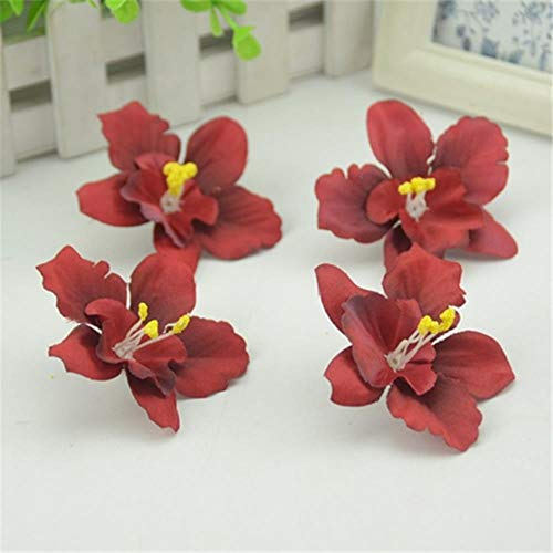 AOA 100pcs/7CM Silk Artificial Orchid Flowers Heads For Home Wedding Decoration Fake Flowers,Gradual Red
