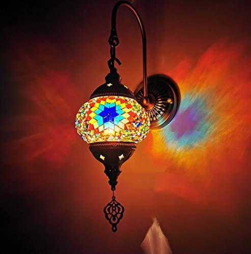 Tiffany stijl handgemaakte Turkse Lamp Marokkaanse stijl Mozaïek Swan Lamp van de Muur van Binnenlandse slaapkamer Restaurant Cafe decoratie licht, Brons Base, 110V ~ 240V, E14 (14 x 46cm),D