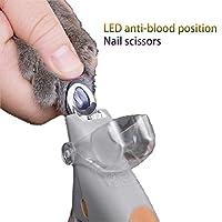 ペットネイルトリマー、犬ネイルはさみ、LEDライト抗血マニキュア用品、猫と犬のネイルはさみペットの爪はさみ