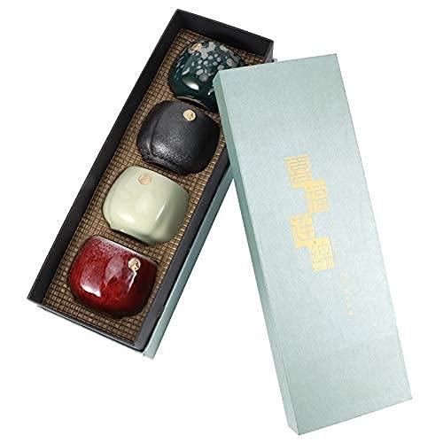 Tazza da Tè Giapponese, a 4 Colori Set di Tazze in Ceramica, Set di Tazze Fatte a Mano da 4 con Confezione Regalo,Smaltata Multicolore Kung Fu Teiere Regalo