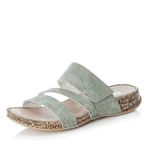 Rieker Damen Pantoletten Grün, Schuhgröße:EUR 39