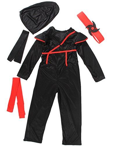 EOZY-Costume Ninja per Bambini Vestito Travestimento Carnevale Halloween Cosplay Nero (Petto 66-76cm)