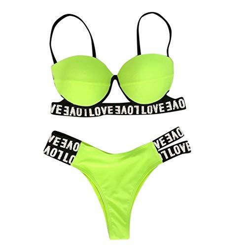 TWBB Bikini Damen Push Up Frauen Mode Spaghettiträger Einfarbig Bikinis Set Zweiteiliger Badeanzug Sommer Sexy Rückenfrei Bademode Teenager Mädchen Zweiteiliges Anzug