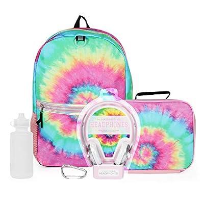 5 Pc. Tie Dye Backpack Set for Girls, 16 inch, w/Kids Headphones, Tie Dye Lunch Box, Water Bottle