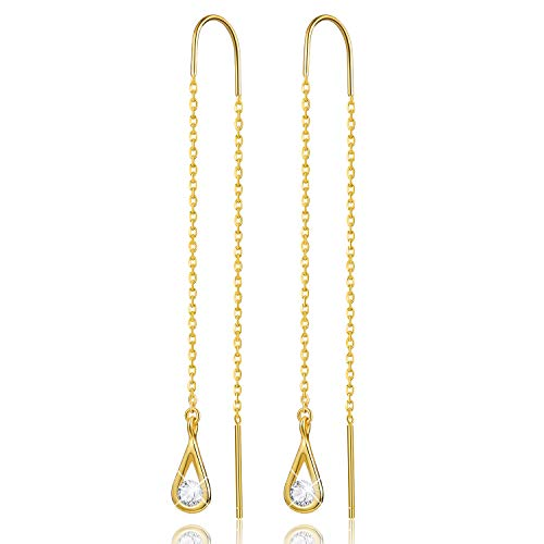 Gift for Christmas Esberry 18K Gold Plating 925 Sterling Silver CZ Hollow Teardrop Dangle Earrings Cubic Zirconia Circle Hypoallergenic Earrings Jewelry for Women and Girls (Yellow Gold-1)