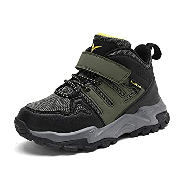 kulebear Kids Hiking shoes Non Slip Boots Boys Girls Winter Boots Outdoor Warm Shoes Waterproof Military Green2 1 Little Kid