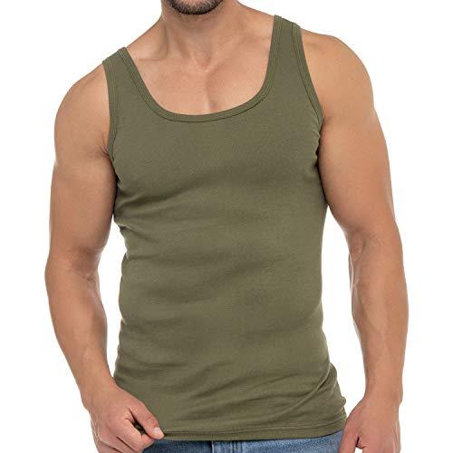 Celodoro Herren Business Tank Top (1 Stück), Achselhemd aus Baumwolle - Olive XL