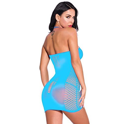 YKARITIANNA Fashion Women Mesh Sexy Lingerie Fishnet Babydoll Mini Dress Free Size Bodysuit Sky Blue