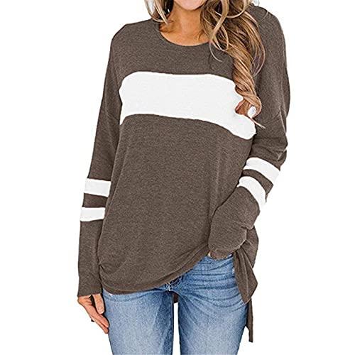 XOXSION Camiseta de manga larga para mujer, con cuello redondo, corte lateral, camiseta de manga larga, a rayas, tops sueltos, camisa básica, casual, camiseta larga para mujer, marrón, S
