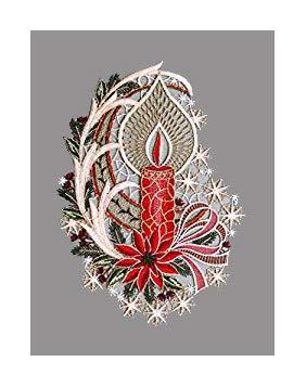Gesticktes Fensterbild Elegante Kerze in Rot hochwertige Fensterdekoration aus echter Plauener Spitze