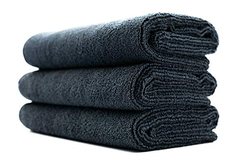 (3-Pack) THE RAG COMPANY 16 in. x 27 in. Sport, Gym, Exercise, Fitness, Spa & Workout Towel - Ultra Soft, Super Absorbent, Fast Drying 320gsm Premium Microfiber (Black, 16x27)